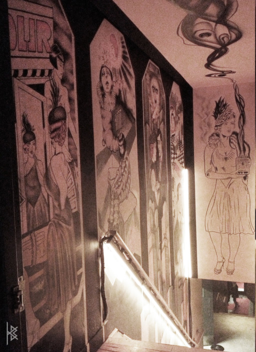 The Club House Staircase Mural