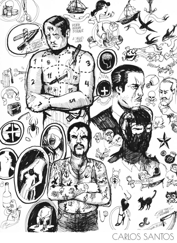 Carlos Santos. ''The Barber'' Ink on Paper, 8.5''x11''. 2012