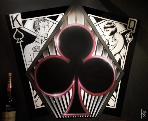KB, Carlos Santos & Fluke. ''Card Facing Wall'' Acrylic on Wall, 8'x7'. 2012