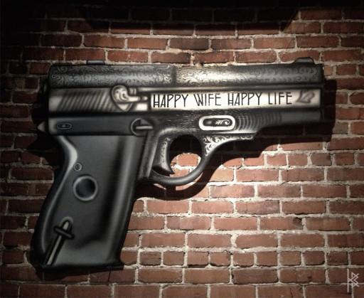 KB & Carlos Santos. ''Happy Wife Happy Life'' Acrylic on Wood Die Cut, 5'x4'. 2012