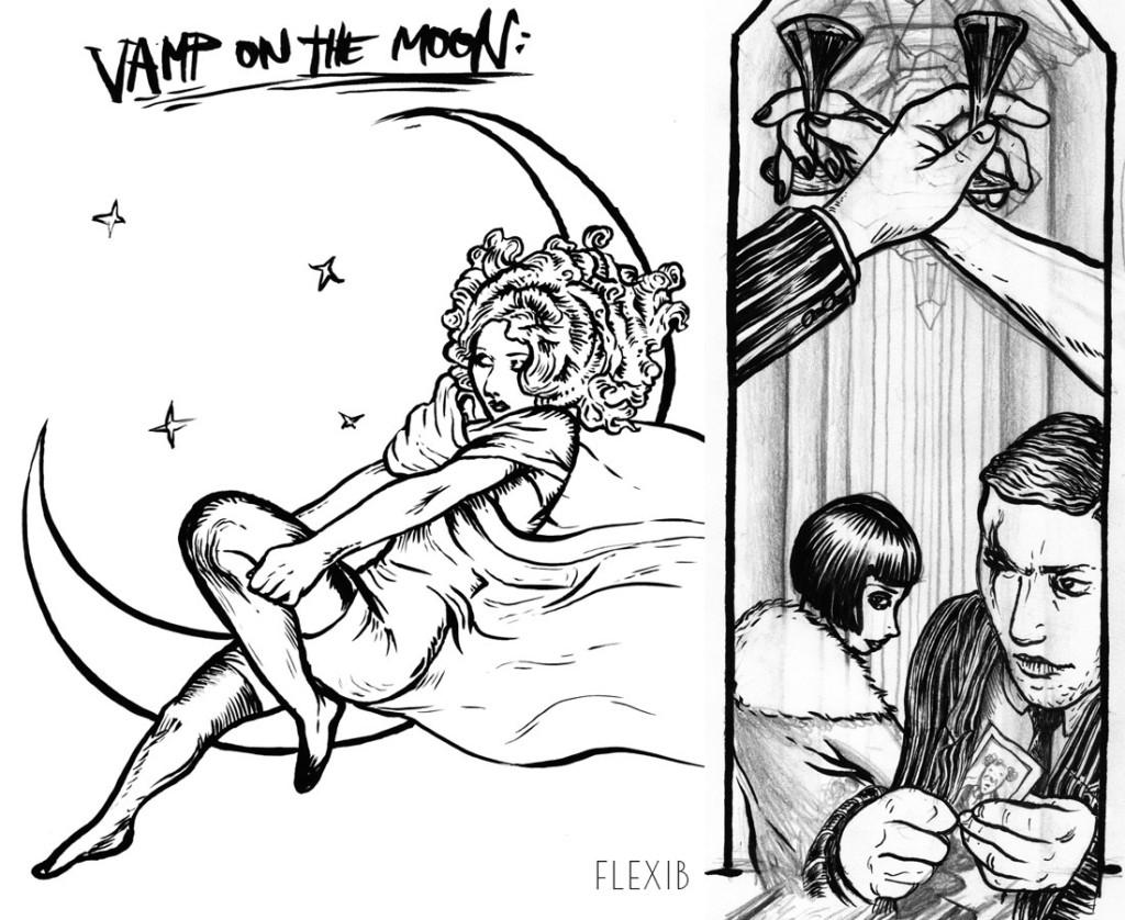 Flexib. ''Vamp on the Moon'' Ink on Paper, 8.5''x11''.2012