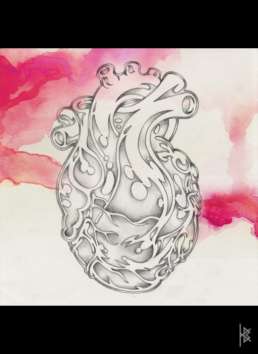 KB. ''Heart'' Pencil and Watercolor on Paper, 6'x8'. 2007