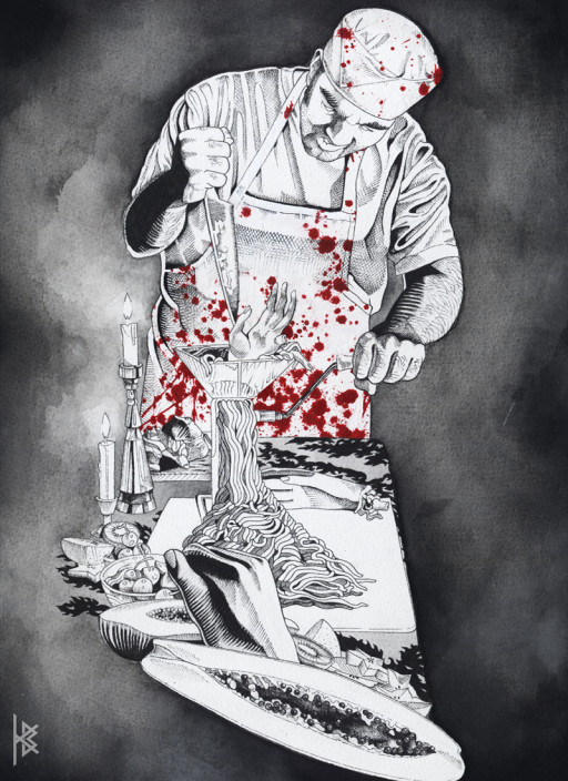 KB. ''The Butcher'' Watercolor on Board, 13''x8.5''. 2006