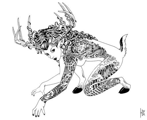 KB. ''Love Hate Prey'' Illustration on Paper, 11''x8.5''. 2009