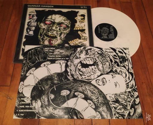 LP insert for Gunnar Hansen / U.T.I. split LP, Produced by Schizophrenic Records, 2011.
