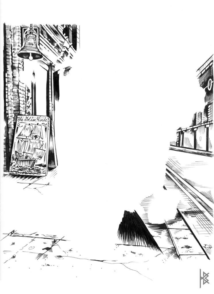 KB. ''The Golden Hinde'' Ink on Paper, 11''x 8.5''. 2014