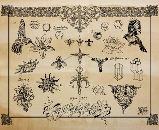 KB. ''Fleur De Lis Bee Flash'', Silkscreen on Coffee Stained Paper, 26''x2''. 2012