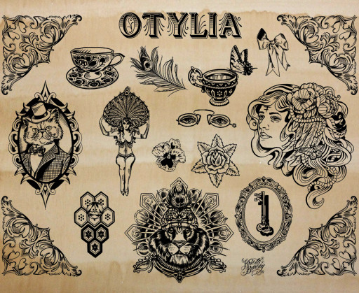 KB. ''Otylia Flash'', Silkscreen on Coffee Stained Paper, 26''x2''. 2012