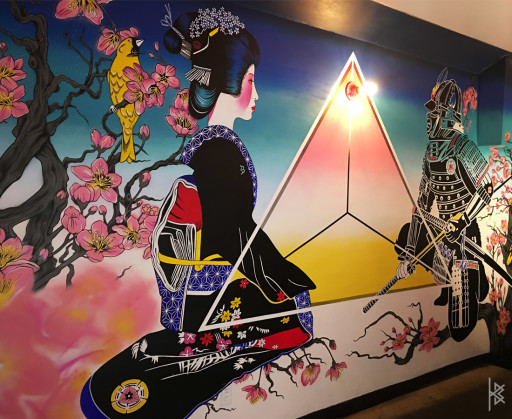 """Star Portal"" Acrylic on Wall, 19'x9'. 2018"