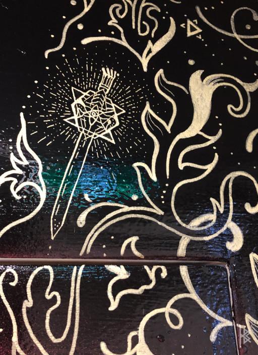 """Cosmic Sword Detail"" Gold Acrylic Paint"